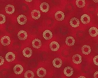 Circles Red Sparkle Metallic Robert Kaufman Fabric 1 yard