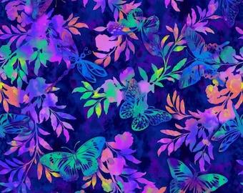 Butterflies Aflutter and Fern Blue Studio E Fabric