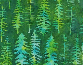 Batik Pine Trees Blue Green Jewel Quest Island Batik Fabric