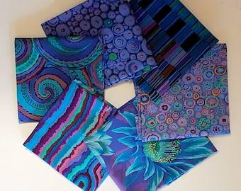 Kaffe Fassett Blue Purple Fabric Fat Quarter 6 pack