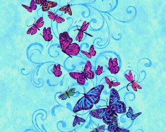 Aflutter Butterfly Turquoise Studio E Fabric Panel