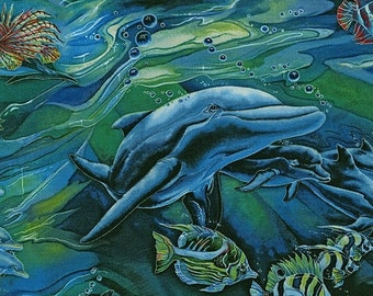 Dolphin Ocean North American Wildlife Kaufman Fabric 1 yard