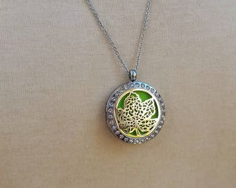 Rhinestone Silver Leaf Magnetic Closure Locket Essential Oil Aromatherapy Diffuser Necklace