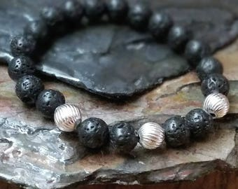 SALE Silver Spiral 8mm Diffuser Bracelet with Lava Beads
