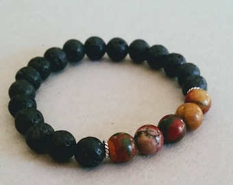 SALE Jasper Picasso 8mm Diffuser Bracelet with Lava Beads