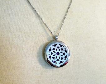 VENTE argent décoratif rond fleur fermeture magnétique huile essentielle aromathérapie diffuseur collier