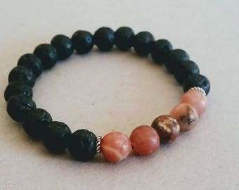 SALE Pink Rhodonite Gemstone 8mm Diffuser Bracelet with Lava Beads