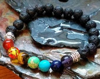 7 chakra guérison 8mm diffuseur Bracelet en perles de lave