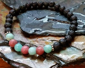 SALE Aquamarine and Rhodonite Gemstone 6mm Diffuser Bracelet with Lava Beads
