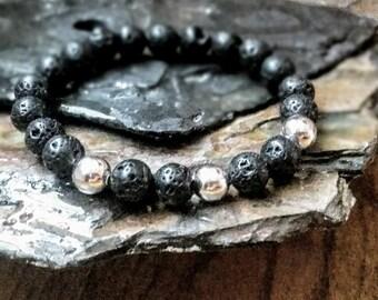 Brillant lisse argent 8mm diffuseur Bracelet avec perles de lave