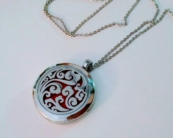 Silver Clouds Magnetic Closure Locket Essential Oil Aromatherapy Diffuser Necklace