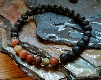SALE Jasper Picasso 6mm Diffuser Bracelet with Lava Beads
