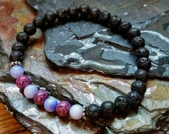 Jasper et perles de Jade violet/lavande 6mm diffuseur Bracelet avec perles de lave