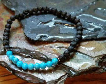 SALE Blue Turquoise 4mm Diffuser Bracelet with Lava Beads