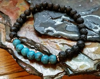 SALE Blue Turquoise 6mm Diffuser Bracelet with Lava Beads