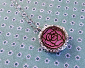 Rhinestone Silver Rose Magnetic Closure Locket Essential Oil Aromatherapy Diffuser Necklace