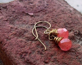 SALE Antiqued Gold Wire Wrapped Cherry Quartz Glass Drop Earrings