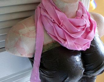 SALE Light Pink Strips Infinity Seamed T shirt Jersey Scarf