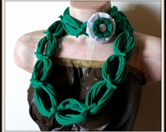SALE All Wrapped Up Green Infinity Looped T shirt Jersey Scarf