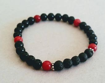 SALE Red and Black Gemstone 6mm Diffuser Bracelet with Lava Beads