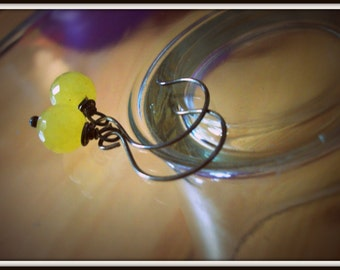 SALE Wire Wrapped and Oxidized Lemon Drop Faceted Earrings