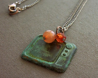 SALE Retro TV Charm Necklace
