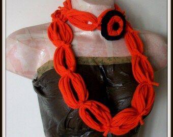 SALE All Wrapped Up Orange Infinity Looped T shirt Jersey Scarf