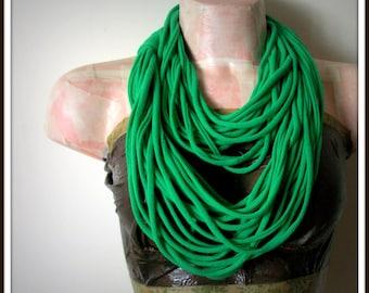 SALE Green Infinity Multi Strand T shirt Jersey Scarf