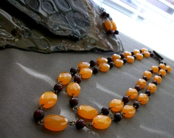 SALE Antique Sunset Necklace and Earring Set