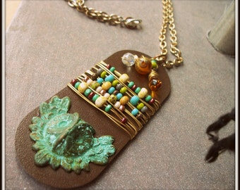 SALE Eclectic Wire Wrapped Owl Necklace