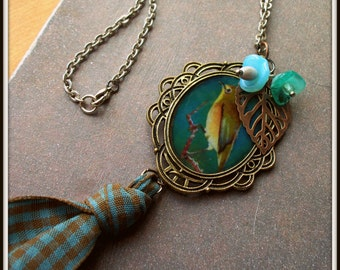 SALE Framed Birdie Charm Necklace