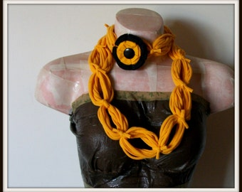 SALE All Wrapped Up Golden Yellow Infinity Looped T shirt Jersey Scarf