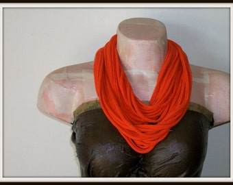 SALE Orange Infinity Multi Strand T shirt Jersey Scarf