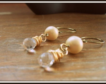 SALE Champagne Wire Wrapped Crystal Drop Earrings