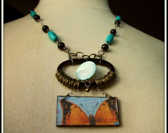 SALE Oval Wood Ephemera Peeking Butterfly Necklace