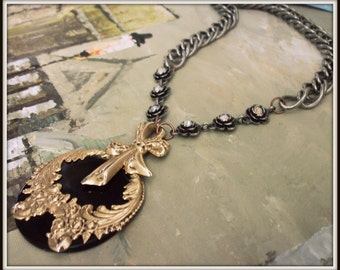 SALE Repurposed Vintage Inspired Black and Gold Statement Necklace