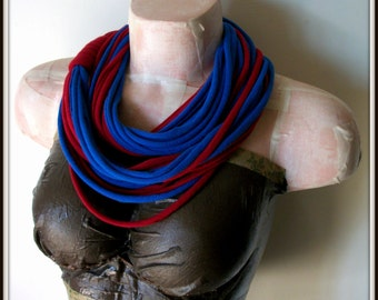 SALE Red & Blue Infinity Multi Strand T shirt Jersey Scarf