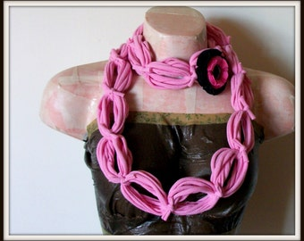 SALE All Wrapped Up Pink Infinity Looped T shirt Jersey Scarf