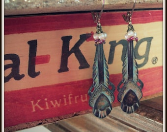 SALE Patina Vintage Deco Earrings