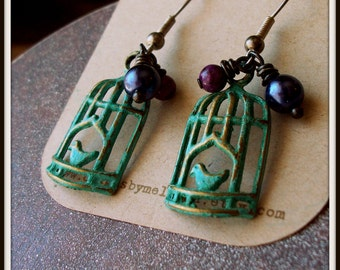 SALE Patina Birdcage Earrings