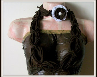 SALE All Wrapped Up Brown Infinity Looped T shirt Jersey Scarf