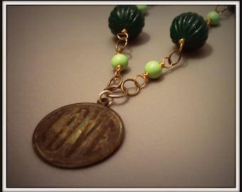 SALE Vintage Inspired Aged Old Love Charm Necklace