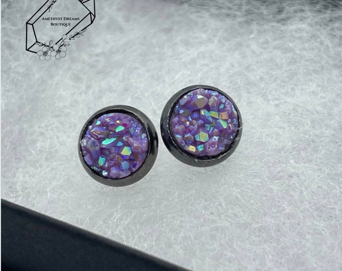 Featured listing image: Tiny Faux Druzy Studs-Various Colors-Druzy-Sparkly-Faux Plugs