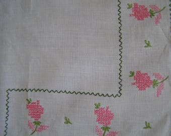 Vintage Embroidered Tablecloth ~ Pink Roses Rose Luncheon Lunch Cottage Chic
