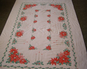 Vintage Tablecloth Christmas Holiday Candles Holly Poinsettias ~ Large