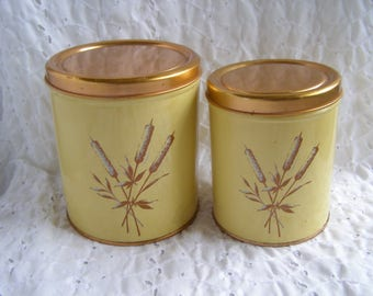 2 Decoware Metal Canisters ~ Cattails Cattail Gold Brass Yellow