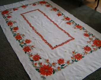 Vintage Christmas Tablecloth Poinsettias Candles Holly Holiday Linen Large Cottage