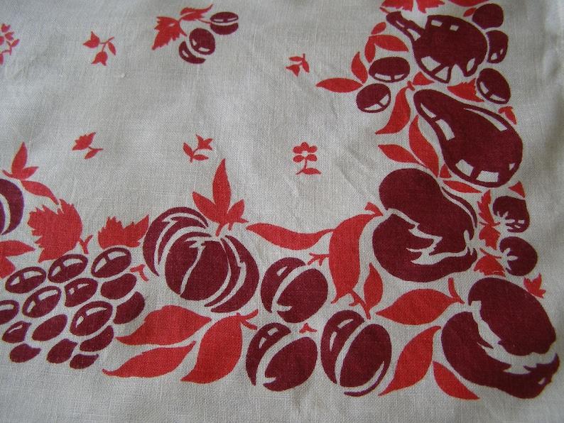 Vintage Tablecloth ~ Fruit Flowers Cottage Pink Purple Leaves