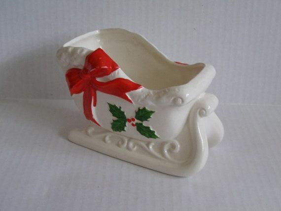 Wood Look Ceramic Sleigh 1960s CMC Planter Christmas Decor. Detailed Holly Design Vintage Sleigh Planter Victorian Christmas Planter
