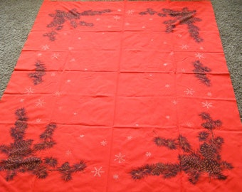 Vintage Tablecloth Christmas Pine Cones Snowflakes Holiday